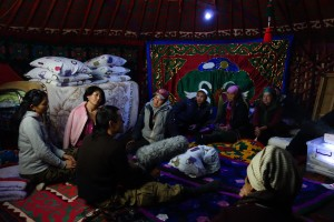 "JAKARTA DISORDER-Tour: ""Bir Duino Kyrgyzstan 2014"", Ascan Breuer, screening in nomad's yurt on the high plains"