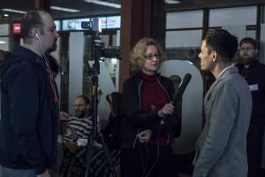 Barbara Eppensteiner interviewt für OKTO-TV die beiden künstlerischen Leiter von UNDOX...